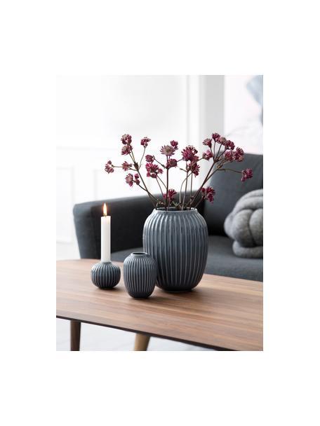 Handgefertigte Design-Vase Hammershøi, Porzellan, Anthrazit, Ø 17 x H 20 cm