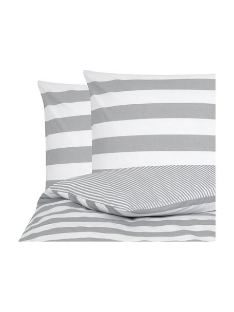 Parure copripiumino reversibile in cotone ranforce Lorena, Tessuto: Renforcé, Bianco, grigio chiaro, 200 x 200 cm