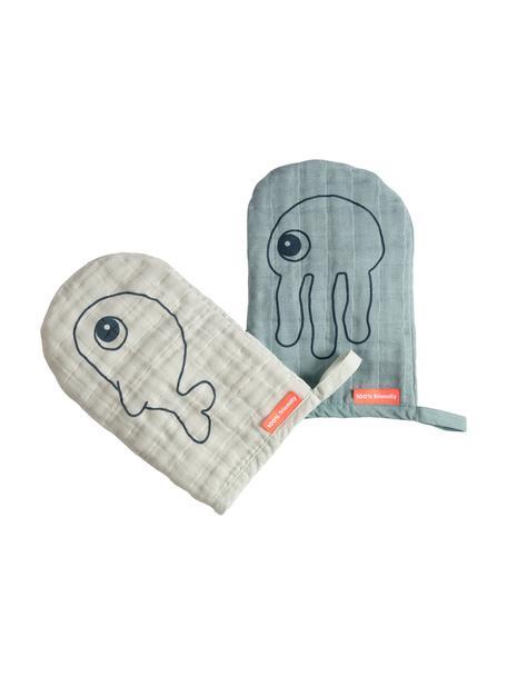 Guanto per bagnetto Sea Friends 2 pz, 100% cotone, certificato Oeko-Tex, Blu, Larg. 13 x Lung. 18 cm