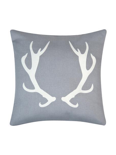 Kussenhoes Horns in grijs/wit met gewei, Katoen, panamabinding, Grijs, ecru, 40 x 40 cm