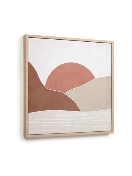 Stampa digitale incorniciata Izem Sun, Cornice: pannello di fibra a media, Immagine: tela, Beige, marrone, rosa cipria, bianco, Larg. 40 x Alt. 40 cm