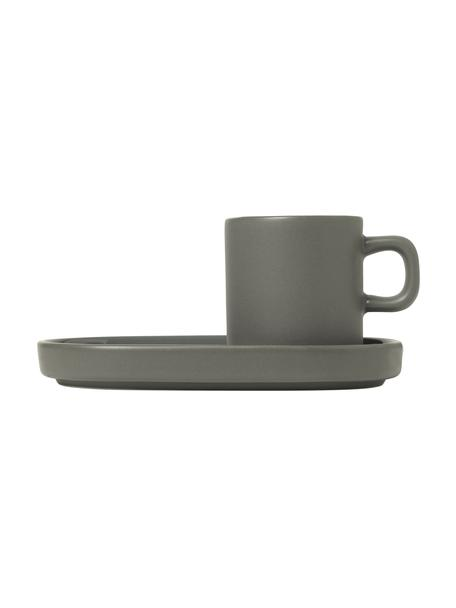 Espressotassen Pilar mit Untertassen in Dunkelgrau matt/glänzend, 2 Stück, Keramik, Dunkelgrau, Ø 5 x H 6 cm