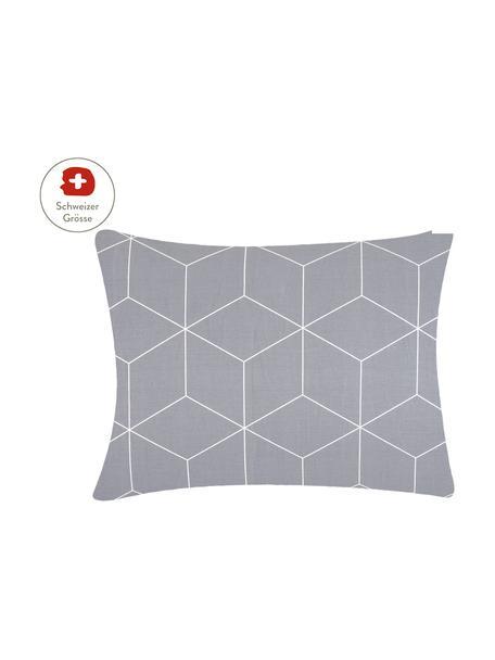 Baumwoll-Kissenbezug Lynn mit grafischem Muster, 50 x 70 cm, Webart: Renforcé Fadendichte 144 , Grau, Cremeweiss, 50 x 70 cm