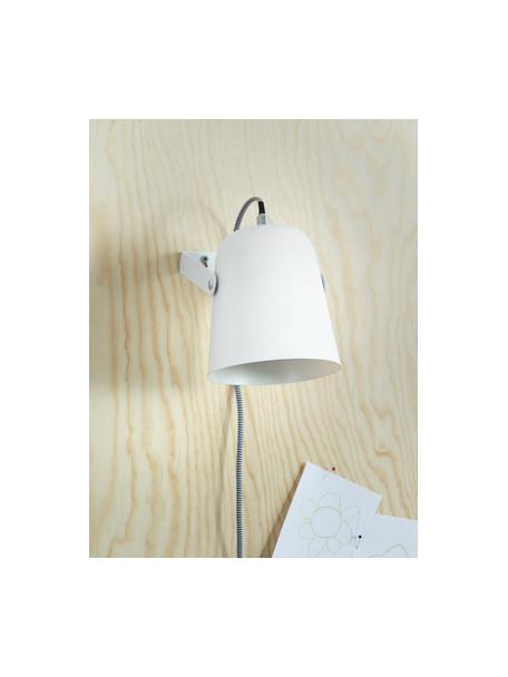 Applique bianco con spina Iluminar, Paralume: metallo verniciato, Bianco, Larg. 14 x Alt. 18 cm