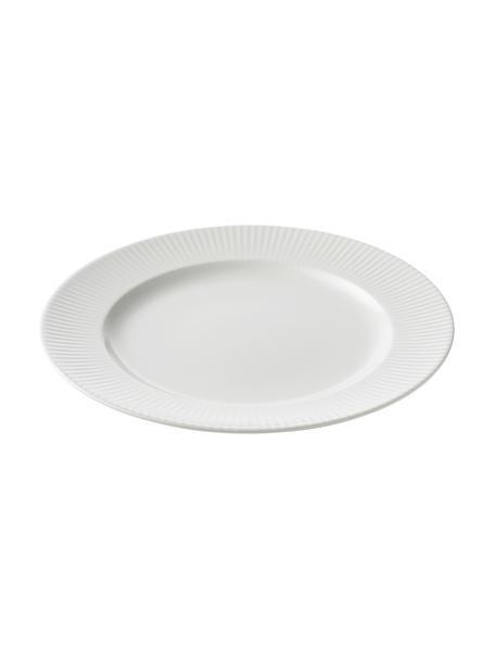 Piatto piano bianco con struttura rigata Groove 4 pz, Gres, Bianco, Ø 27 x Alt. 1 cm