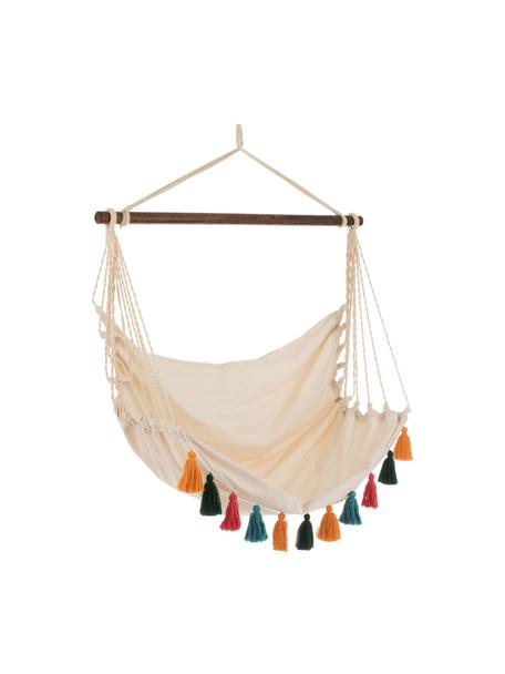 Hangstoel Quast met gekleurde franjes, Stang: hout, Crèmekleurig, multicolour, 128 x 160 cm