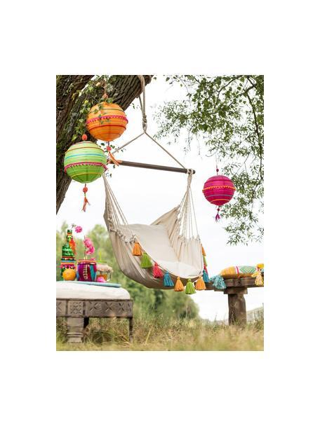 Amaca a poltrona con nappe colorate Quast, Asta: legno, Color crema, multicolore, Larg. 128 x Alt. 160 cm