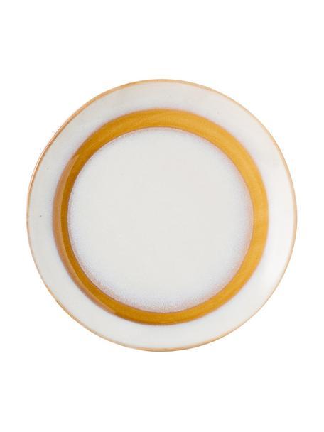 Handgemaakte dessertborden 70's, 2 stuks, Keramiek, Wit, oranje, Ø 18 cm