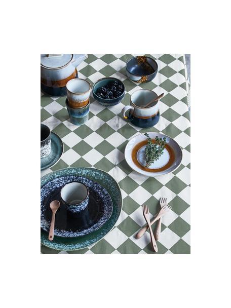 Handgemachte Kuchenteller 70's im Retro Style, 2 Stück, Steingut, Weiß, Orange, Ø 18 cm