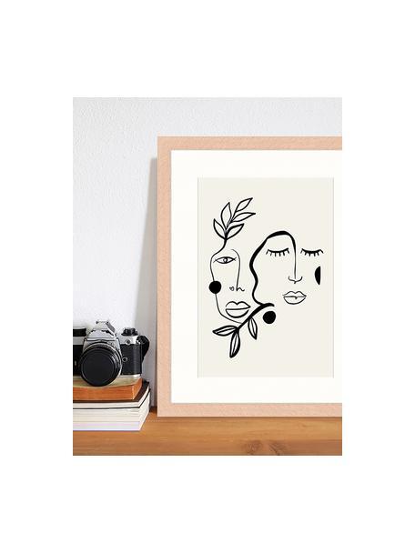 Ingelijste digitale print Love And Flourish, Afbeelding: digitale print op papier,, Lijst: gelakt hout, Lichtgrijs, zwart, 33 x 43 cm