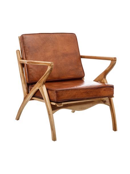 Fotel wypoczynkowy ze skóry Lola, Tapicerka: skóra, Stelaż: drewno tekowe, Nogi: drewno tekowe, Brązowa skóra, S 75 x G 60 cm