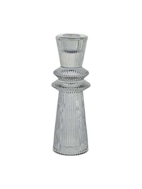 Kerzenhalter Sivia, Glas, Grau, transparent, Ø 5 x H 16 cm