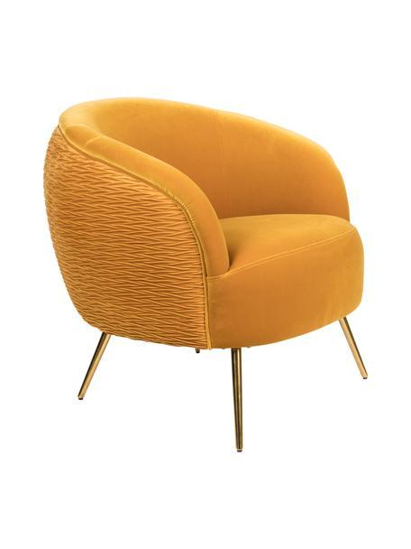 Poltrona in velluto giallo So Curvy, Rivestimento: velluto di poliestere Il , Piedini: acciaio inossidabile zinc, Velluto giallo ocra, Larg. 78 x Prof. 77 cm