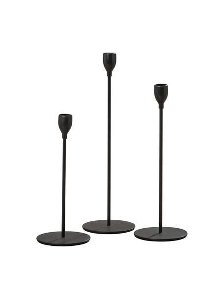 Set de candelabro Malte, 3pzas., Metal recubierto, Negro, Set de diferentes tamaños