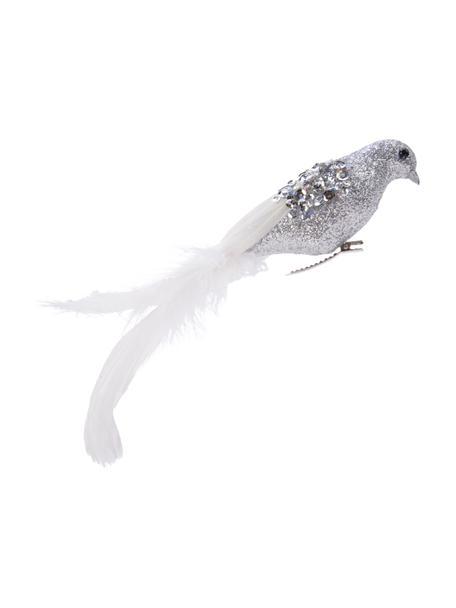 Baumclip Bird B 22 cm, 2 Stück, Silberfarben, Weiss, 22 x 5 cm