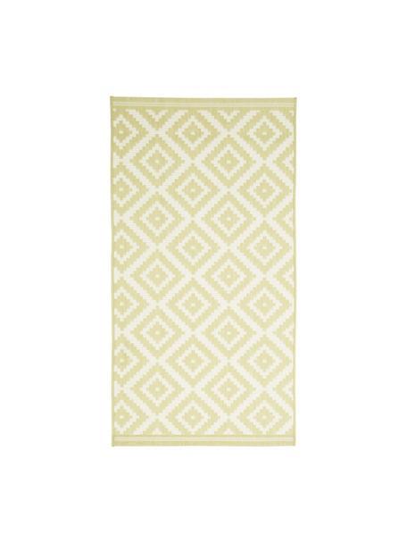 Gemusterter In- & Outdoor-Teppich Miami in Gelb/Weiß, 86% Polypropylen, 14% Polyester, Weiß, Gelb, B 80 x L 150 cm (Größe XS)