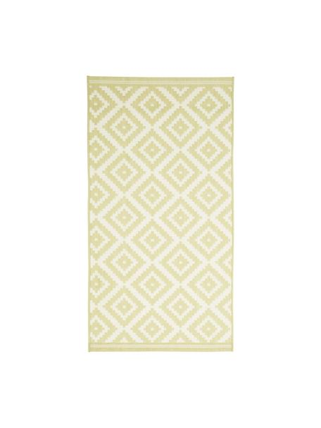 Tappeto giallo/bianco da interno-esterno Miami, 86% polipropilene, 14% poliestere, Bianco, giallo, Larg. 80 x Lung. 150 cm (taglia XS)