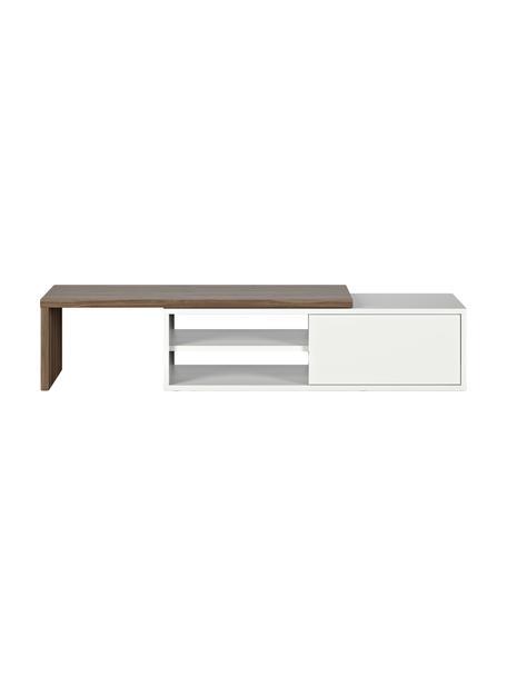 Uittrekbare tv-meubel Lieke met schuifdeur, Walnoothout, wit, 110 x 32 cm