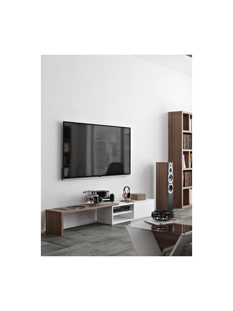 Ausziehbares TV-Lowboard Lieke mit Schiebetür, Auflageelement: Mitteldichte Holzfaserpla, Lowboard: Mitteldichte Holzfaserpla, Walnussholz, Weiss, 110 x 32 cm