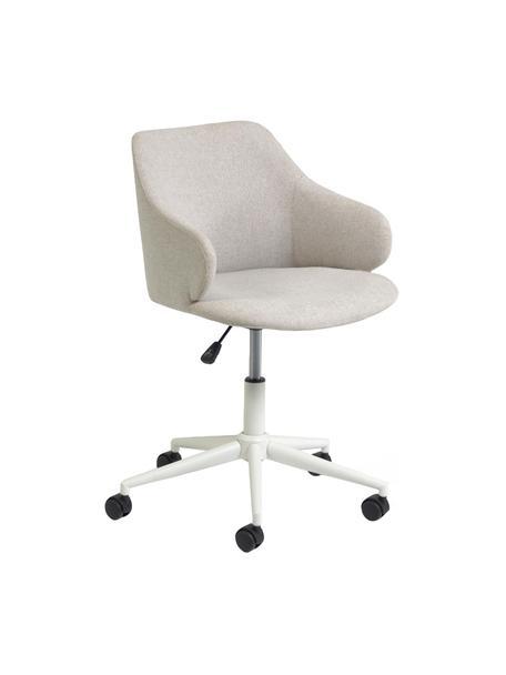 Gestoffeerde bureaustoel Einara in grijs, in hoogte verstelbaar, Bekleding: polyester, Frame: gecoat staal, Wieltjes: polypropyleen, Grijs, 64 x 64 cm