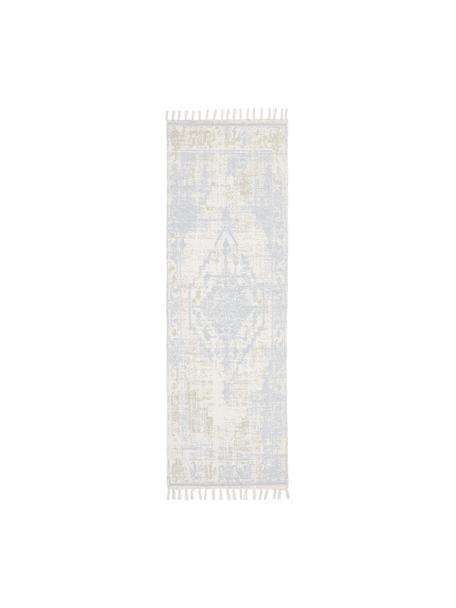 Alfombra artesanal de algodón Jasmine, estilo vintage, Beige, azul, An 80 x L 250 cm