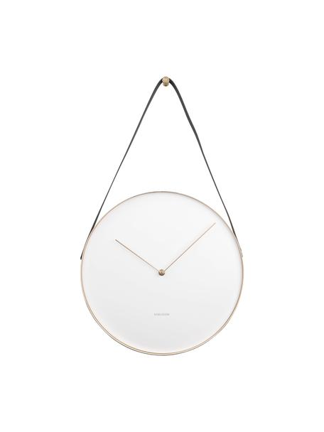 Orologio da parete Belt, Metallo rivestito, Bianco, ottone, nero, Ø 34 cm