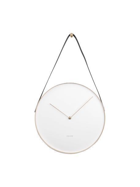 Zegar ścienny Belt, Metal powlekany, Biały, odcienie mosiądzu, czarny, Ø 34 cm