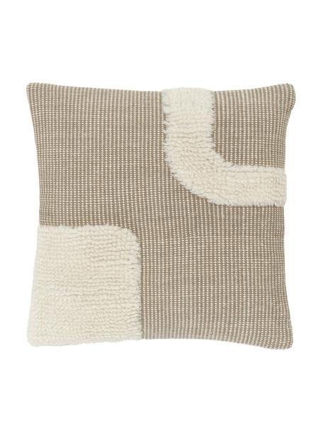 Federa arredo tessuta a mano beige/bianco crema con motivo Wool, Retro: 100% cotone, Beige, Larg. 45 x Lung. 45 cm