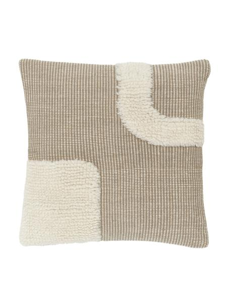 Funda de cojín artesanal Wool, Parte superior: 89%lana, 11%algodón, Parte trasera: 100%algodón, Beige, An 45 x L 45 cm