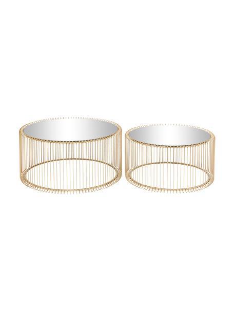 Metalen salontafelset Wire, 2-delig, met glazen tafelbladen, Frame: gepoedercoat metaal, Tafelblad: veiligheidsglas, Messingkleurig, Set met verschillende formaten