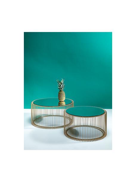 Metalen salontafelset Wire, 2-delig, met glazen tafelbladen, Frame: gepoedercoat metaal, Tafelblad: veiligheidsglas, in folie, Messingkleurig, Set met verschillende formaten