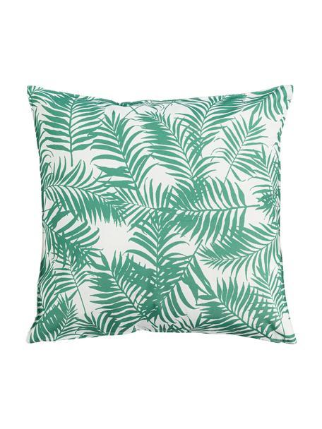 Cuscino da esterno con motivo foglie Gomera, 100% poliestere, Bianco, verde, Larg. 45 x Lung. 45 cm