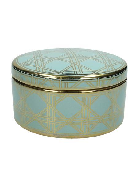Contenitore Kristen, Ceramica, Verde, dorato, Ø 16 x Alt. 9 cm