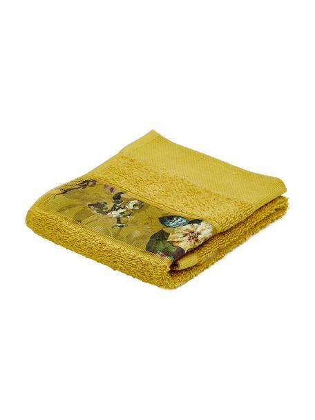 Handdoek Fleur in verschillende formaten, met bloemenrand, 97% katoen 3% polyester, Mosterdgeel, multicolour, Gastendoekje