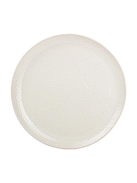 Speiseteller Mielo mit strukturierter Oberfläche, 4 Stück, Steingut, Weiß, Ø 27 cm