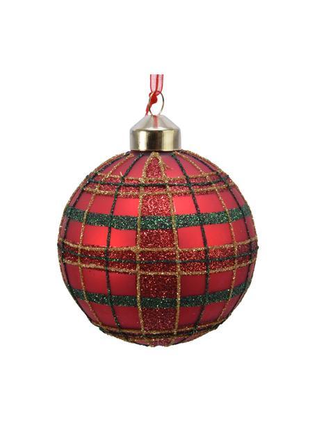 Kerstballen Randi, 3 stuks, Glas, Rood, groen, goudkleurig, Ø 8 cm