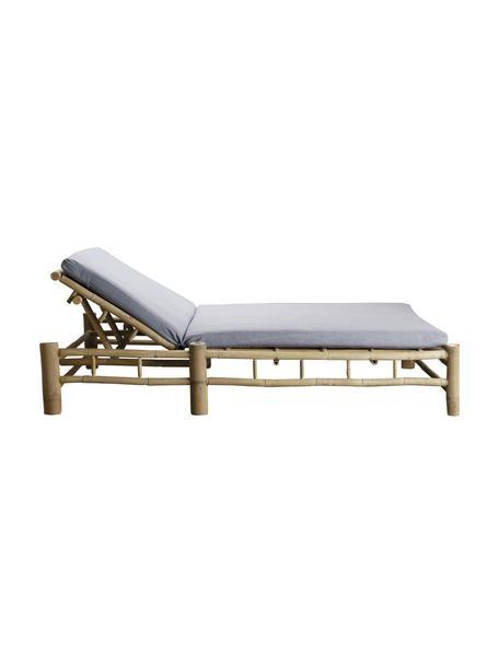 Leżak ogrodowy z drewna bambusowego Bambed, Stelaż: drewno bambusowe, Tapicerka: 100% bawełna, Szary, brązowy, S 150 x D 210 cm