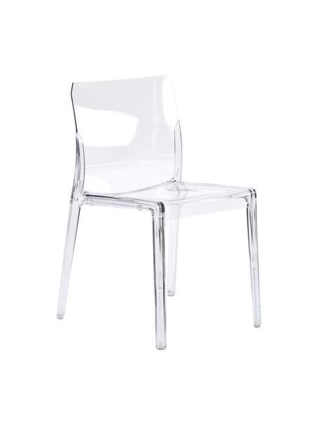 Sedia da giardino in plastica trasparente Mia, Materiale sintetico (polycarbonato), Trasparente, Larg. 46 x Prof. 44 cm