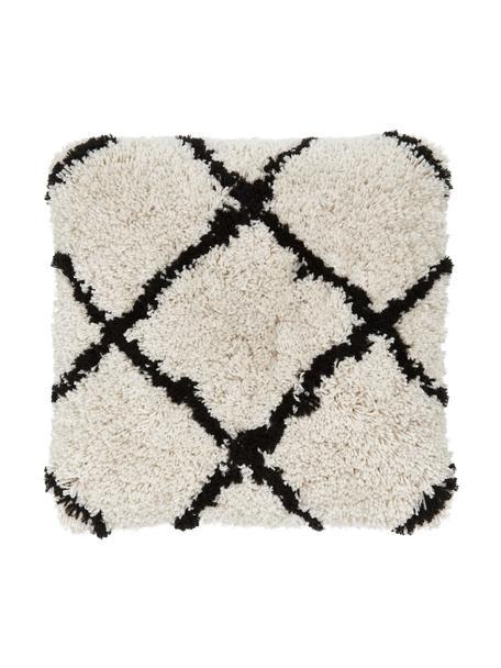 Zachte kussenhoes Naima in beige/zwart, Beige, zwart, 45 x 45 cm