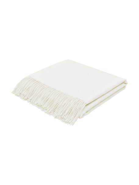 Coperta in baby alpaca leggera Luxury, Beige, bianco, Larg. 130 x Lung. 200 cm