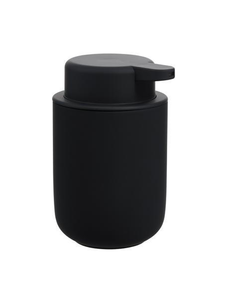 Zeepdispenser Ume van keramiek, Mat zwart, Ø 8 x H 13 cm