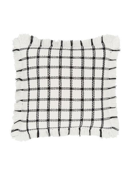 Federa arredo tessuta a mano Charlotta, 100% cotone, Bianco crema-nero, Larg. 45 x Lung. 45 cm