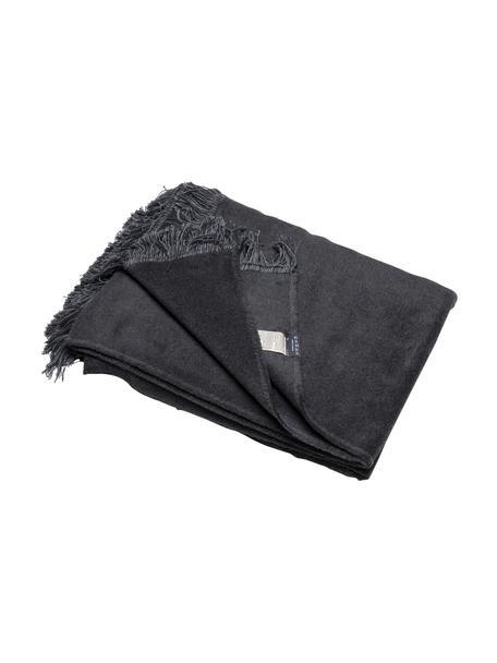 Coperta morbida in cotone grigio scuro con frange Vienna, 85% cotone, 15% poliacrilico, Grigio scuro, Larg. 150 x Lung. 200 cm