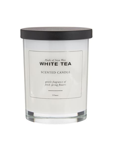 Geurkaars White Tea (poeder & witte thee), Houder: glas, Deksel: hout, Wit, zwart, Ø 8 x H 10 cm