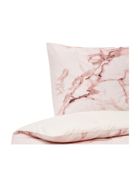Baumwollperkal-Bettwäsche Malin mit Marmor-Muster, Webart: Perkal Fadendichte 200 TC, Marmormuster, Rosa, 135 x 200 cm + 1 Kissen 80 x 80 cm