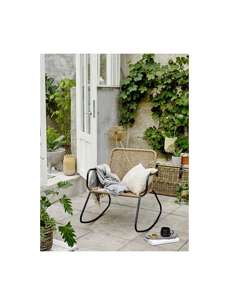 Fotel bujany ze splotu z tworzywa sztucznego Mundo, Czarny, beżowy, S 73 x G 89 cm
