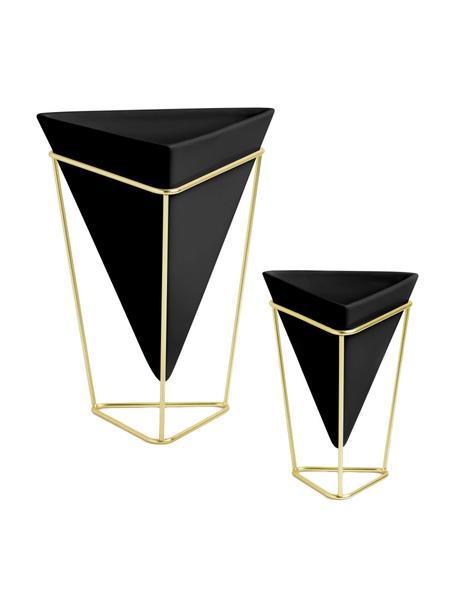 Übertopf-Set Trigg aus Keramik, 2-tlg., Übertopf: Keramik, Gestell: Metall, vermessingt, Schwarz, Messing, Sondergrößen