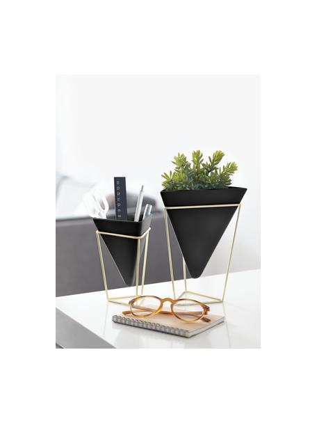 Komplet osłonek na doniczkę z ceramiki Trigg, 2 elem., Stelaż: metal mosiądzowany, Czarny, mosiądz, Komplet z różnymi rozmiarami