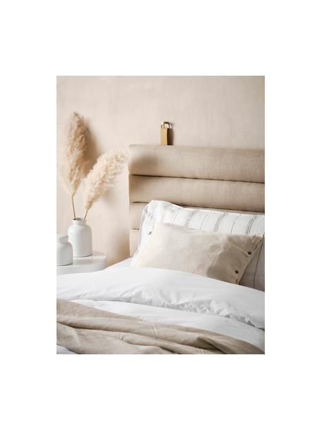 Cabecero tapizado Amsterdam, Funda: 100%lino, Estructura: madera contrachapada, Asas: cuero sintético, Beige, An 120 x Al 60 cm