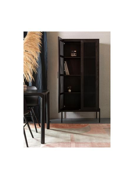 Vitrinekast Hardy van hout en metaal, Frame: MDF met eikenhoutfineer, , Poten: gecoat metaal, Zwart, 80 x 180 cm